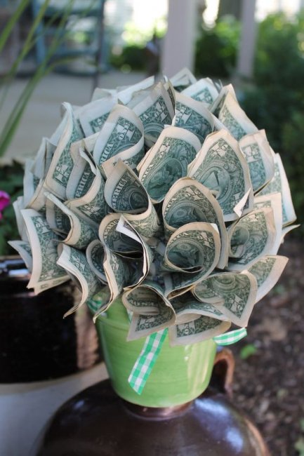 Букет из денег своими руками фото пошагово 100