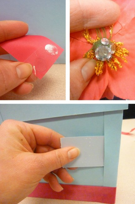 Украшаем коробку цветами