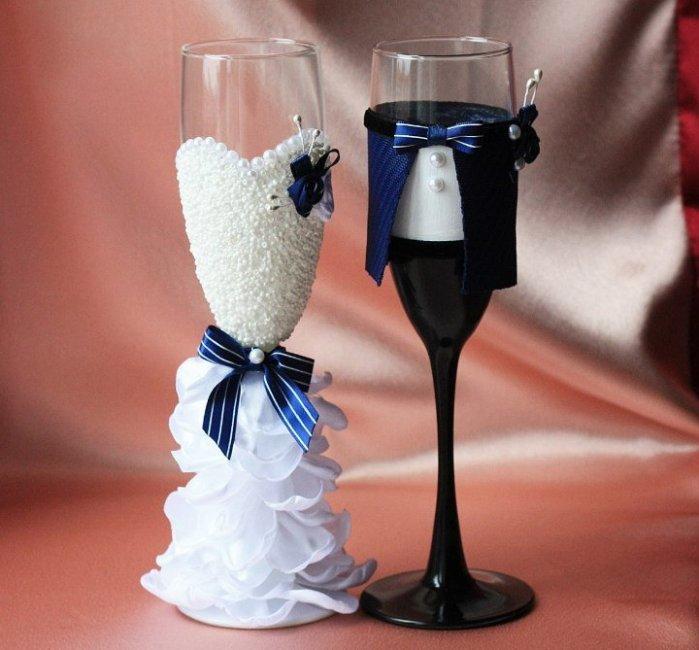 Свадебные бокалы своими руками фото пошагово жених невеста