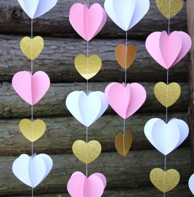 Гирлянды-сердечки для украшения двора