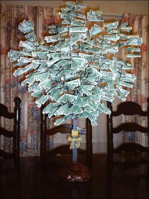 Денежно дерево на свадьбу своими руками фото