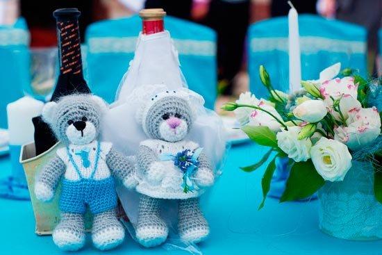 Бирюзовые статуэтки для свадьбы