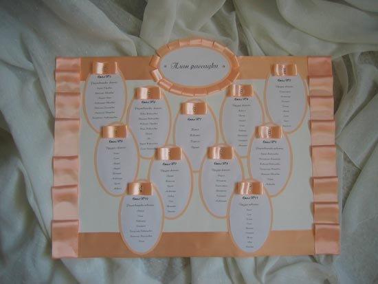 Образец оформления плана рассадки лентами персикового цвета