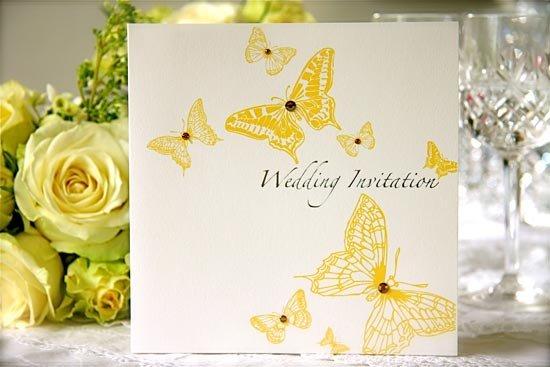 Свадебные приглашения в желтом цвете