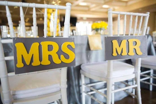 Серебристо-желтая свадебная гамма