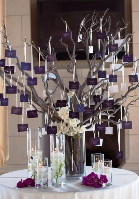 Дерево пожеланий для свадьбы в фиолетовом цвете