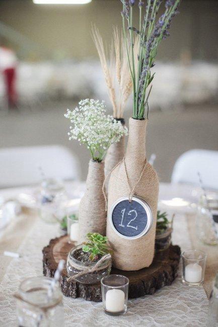Бутылки в свадебном декоре