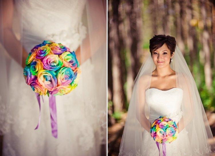 Радужный букет невесты