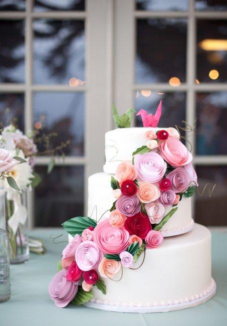 Свадебный торт с оригами