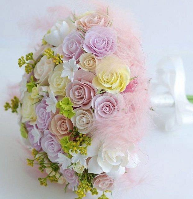 Как сделать букет невесты из искусственных цветов фото 983