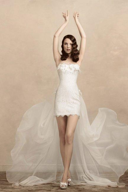 Оригинальное короткое платье невесты