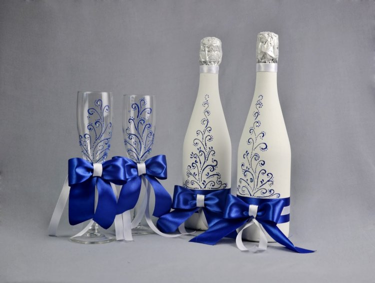 Свадебная бутылка шампанского своими руками фото 510