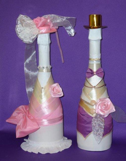 Украшение бутылок шампанского на свадьбу