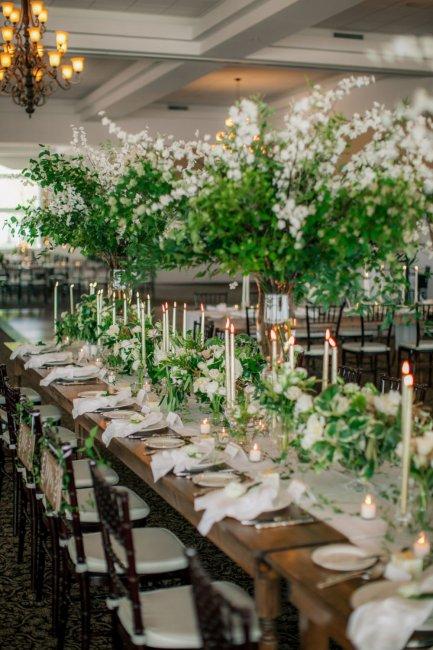 Декор свадьбы с живой зеленью