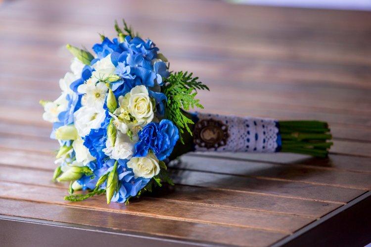 Букет для невесты с гортензтями