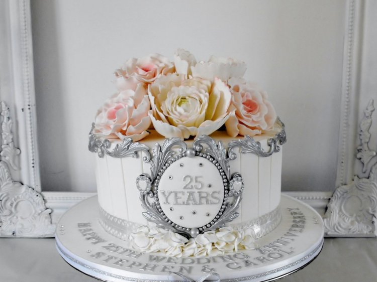 Торт на серебряную свадьбу (25 лет)