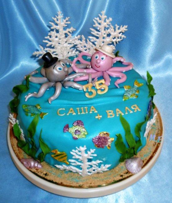 Торт на коралловую свадьбу (35 лет)