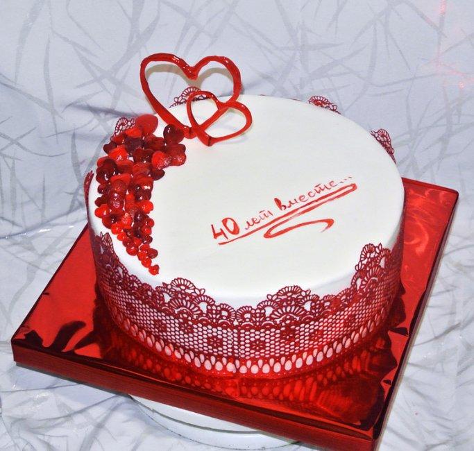 Торт на рубиновую свадьбу (40 лет)