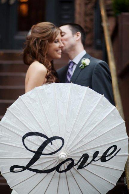 Зонт с надписями на свадьбе