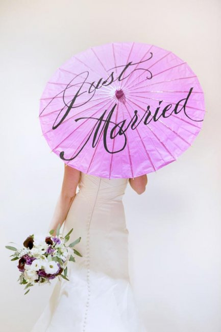 Зонт невесты с надписями