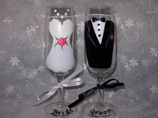 Бокалы для романтичной свадьбы