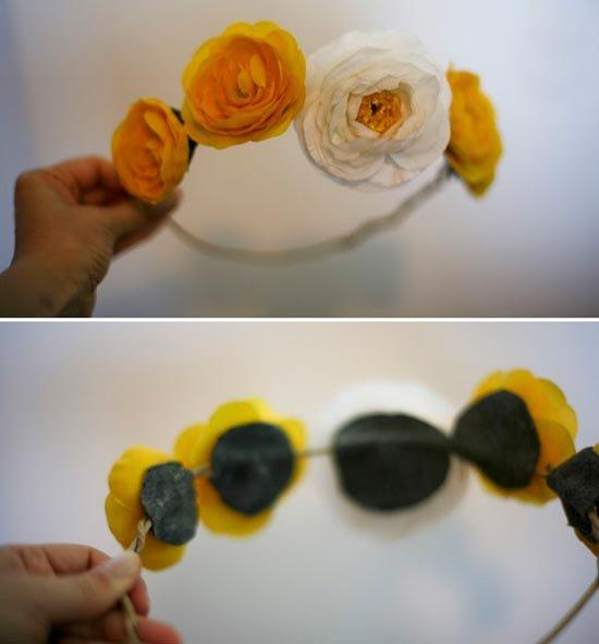 Приклеим цветы к обручу