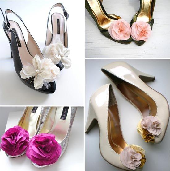Идеи свадебных клипсов на обувь