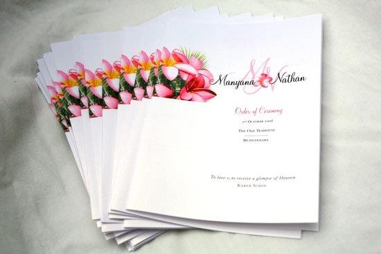 Распечатанная программа свадьбы