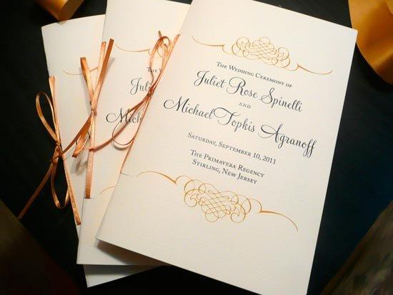 Программа свадьбы с прошивкой лентой