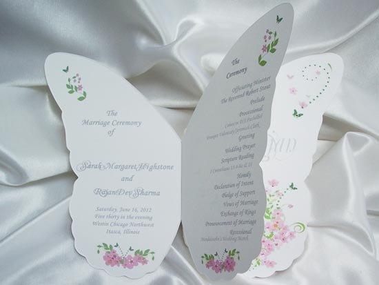 Программа свадьбы в форме бабочки