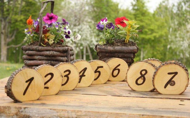 Номера на спилах деревьев