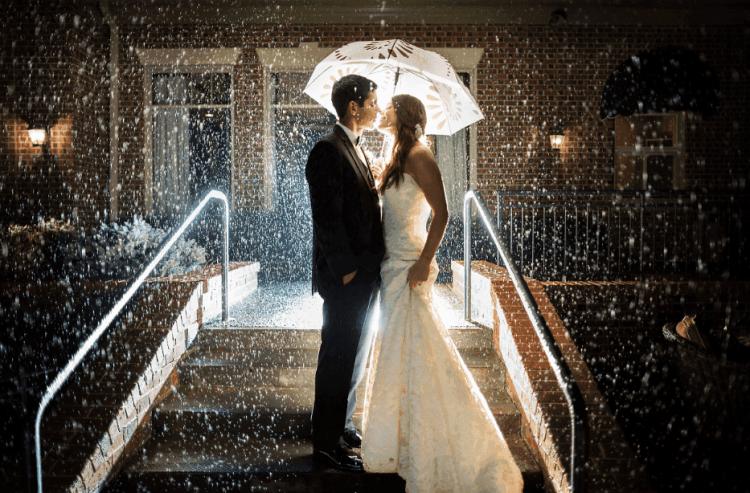 Свадебные фото под дождем